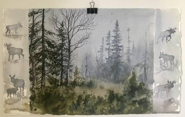 Bilde av Nils Forsmann - Skog i tåket, elgen vandrer